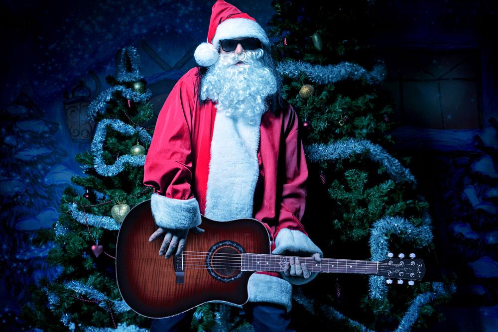 Santa Rocking Out